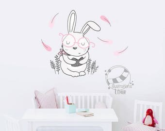 Decal of Bunny glasses, game room, corner books, library, applied decals, vinyl wall decal, wall, decoration