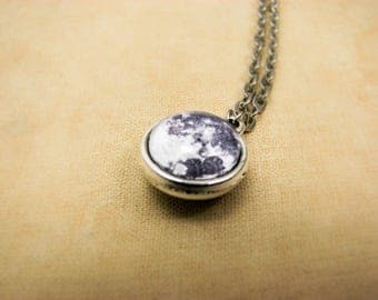 Full Moon Necklace, Double sided Tiny Moon Necklace, Space jewelry, Two sided Moon Pendant, Galaxy jewelry, Solar System, Planet pentant