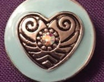 New Blue Metal Snap with a Silver Heart 18mm - Fits all your 18mm Interchangeable Snap Jewelry