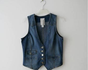 Vintage Button Up Vest Denim Vest Washed Out Denim Vest Light Blue Waistcoat Fitted Denim Vest Small Size