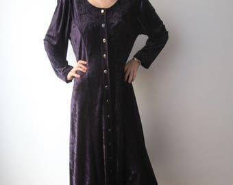 Vintage Extra Large Velvet Dress Dark Purple Long Sleeve Velvet Maxi Dress Club Kid Grunge Goth Clothing Button Down Gothic Dress