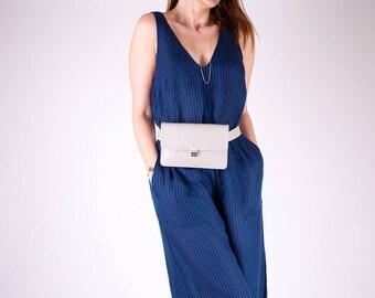Minimalist Fanny Pack, Vegan Leather Hip Bag, Leather Waist Bag, Gray Travel Bag, Festival Bag, Convertible Bag, Crossbody Bag,Gifts for her