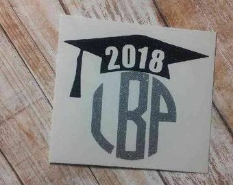 Graduation Decal/Graduation Monogram/Senior Monogram/Senior Decal/ Graduation Cap Monogram/Graduation Cap Decal/ College Graduation