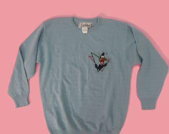 Vintage 1990 Daffy Duck Blue Sweater