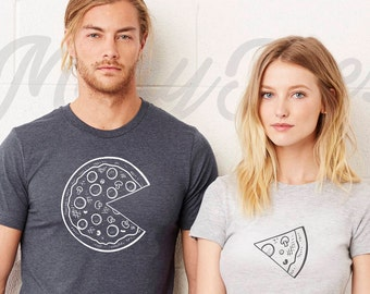 Couple t shirt couple tees pizza t shirt couple tshirts  funny matching couple shirts wedding gift anniversary gift pizza t shirts