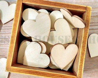 100 PCS Wood Heart Laser Cut Wooden Heart Rustic Wedding Country Wedding Bridal Shower Decorations Table Confetti | Blank
