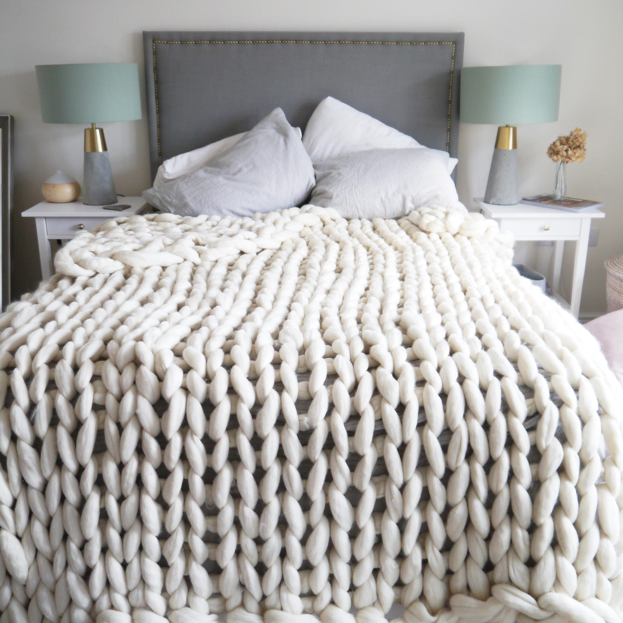 Chunky Knit Blanket DIY. The chunky knit blankets have been all the rage and the moment I saw one I knew I wanted it!! Seeing as this was a year ago believe it or not, they were priced at $$ a blanket.