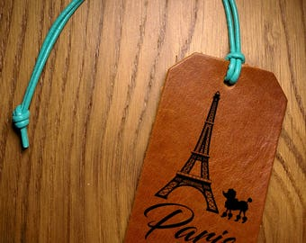 Leather Luggage Tag, Eiffel Tower Luggage Tag, Paris Luggage Tag, Travel Quote Graduation Present , Wedding Favor Gifts, Baggage ID Tags