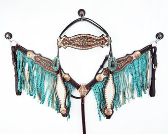Turquoise Hair On Barrel Racer Leather Headstall Western Horse Trail Bridle Breast Collar Plate Gator Fringe Set