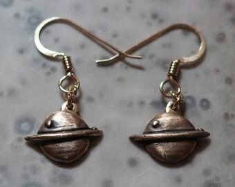 Little bronze Saturn earrings