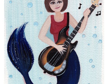 Mermaid Music / Mermaid Art Print / Bass Playing Mermaid / Fine Art Print {Watercolor Print 5X7} -- FREE SHIPPING --