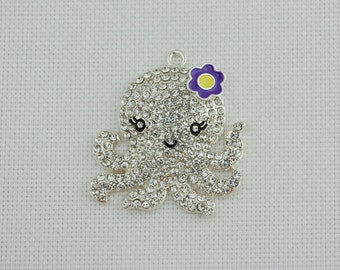 Sparkly Octopus Rhinestone Needleminder / Squid Needle Minder