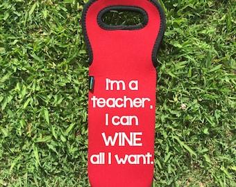 Wine Bag, Wine Holder, Wine Cooler, Neoprene Personalized Wine Holder, Wine Tote, Wine Gift, Personalized Wine Holder, Wine Gift Set