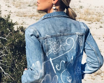 Custom Jean Jacket - Custom Lettering - Vintage Denim Jacket Calligraphy - Festival Jacket - Men and Women's Personalized Rocker Jacket
