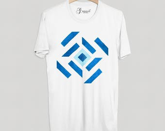 Geometric shirt - Boyfriend gift - Abstract art print - Blue watercolor t-shirt