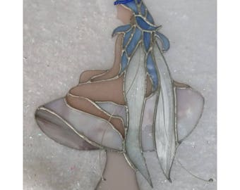 Stained glass Fairy/Nymph on Toadstool Fantastically Fairy Tale.