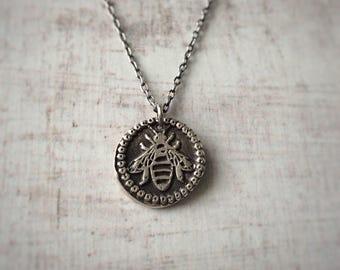 Fine Silver Bee Wax Seal Necklace - Bee Necklace - Wax Seal Necklace - Wax Seal Jewellery - Personalised Necklace