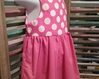 Girls pink pokkadot dress, Pink girls dress, 100% cotton, Summer girls dress, Party dress,  Sleeveless girls summer dress, #64
