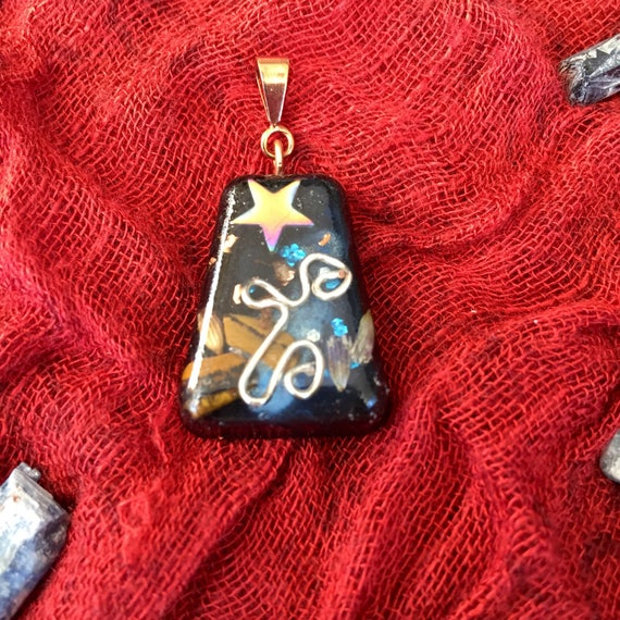 Starseed Magic Orgonite® Pendant- Life Force Energy Orgone necklace- Magickal Hematite & Tiger's Eye Orgone Energy Generator Pendant