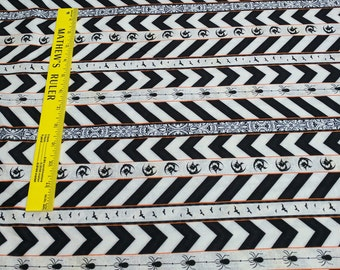 Something Wicked-Black and White Striped Cotton Fabric from Wilmington Prints