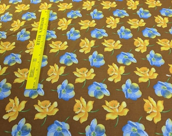 Daffodils and Blue Flowers on Brown Cotton Fabric