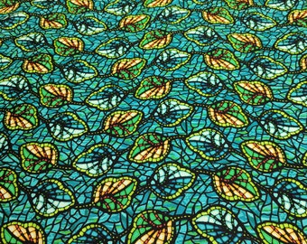 Art Glass-Blue and Green Cotton Fabric from P&B Textiles