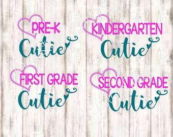 Pre K Cutie, Kindergarten Cutie, First Grade Cutie, Second Grade Cutie SVG EPS PNG dxf Cut files, School, Girly, First Day, 1st, 2nd