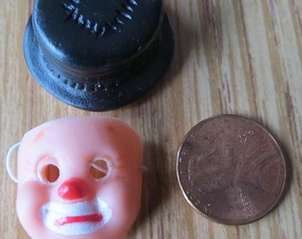 Dollhouse Miniature Hobo clown mask and hat