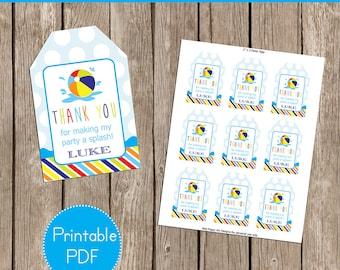 Beach Ball Party Favor Tags- Printable, DIY