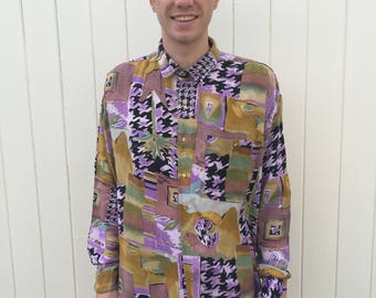 Men's Vintage Shirt. Funky Patterned 80s Style Shirt. Long Sleeves, Viscose Material. Size L.