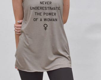 Feminist tank top - never underestimate a woman tank, womens gym top, womens workout top, feminist shirt, womens gymwear, feminist gym top