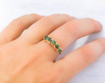 Emerald Eternity Ring, Yellow Gold, Half Eternity Band, Emerald Raw Stacking Ring, Raw Crystal Ring, May Birthstone Ring, Rough Stone Ring