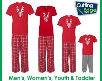 Reindeer Monogram Christmas Pajamas, Family Christmas Pajamas, Children's Christmas Pajamas, Holiday Pajamas, Reindeer Pajamas