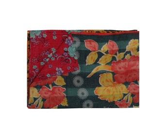 Reversible Hand Stitch Cotton Floral Sari Kantha Throw