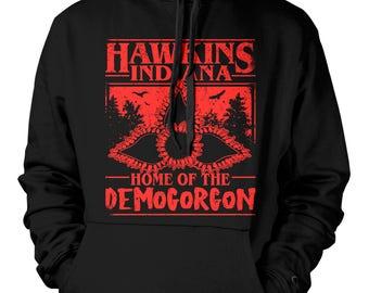 Unisex Hoodie - Hawkins Indiana Home of the Democorcon - Stranger Things - web TV series - web TV show - Netflix - SiFi - Horror - Drama