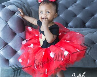 Minnie Mouse 1st Birthday Outfit / Minnie Mouse Party / Disney Trip Tutu Set / Minnie Mouse Ears / Red Minnie Polka Dots / Gold Glitter