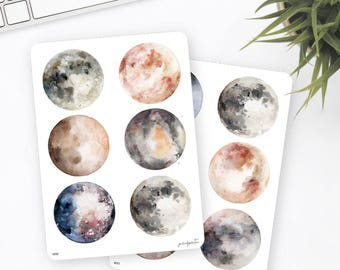 Galaxy Stickers   Planet Stickers   Moon Stickers   Watercolor Stickers   Planner Stickers   Bullet Journal Stickers