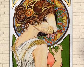 Art Nouveau Mouse Fine Art Print, Original Art, Mucha Mouse, Alphonse Mucha, Unique Gift, One of a Kind, Fantasy, Surrealism, Painting