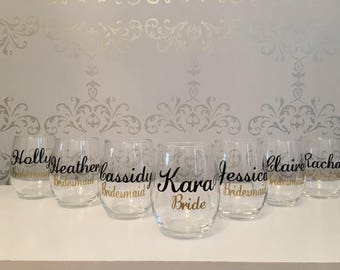 Custom bridal party wine glass, custom wine glasses, bridesmaid glass, maid of honor glass, bridal party glass, bridal party gifts