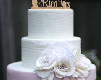 Mr Mrs Wedding Cake Topper Tree Wedding Topper Wood Last Name Topper Personalized Topper Surname Cake Topper Custom Cake Unique Fine Topper