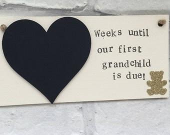 Baby countdown, Personalised baby countdown, First grandchild, Grandchild, grandparents, nan and grandad countdown.Baby shower new baby gift