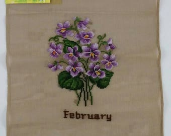 Vintage Bucilla Decorator Needlepoint, Pre-Worked Flower of Month, February Violets, New Old Stock