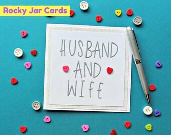 Husband and Wife Wedding Card, Greeting Card, Button Card, Wedding Card, Gift Card, Husband and Wife, Wedding