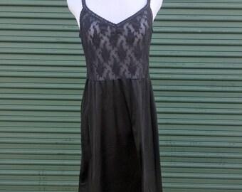 90s Black Sheer Lace Slip Dress - 1990s Gothic Grunge Overlay Lace Slip - Midi Length Sheer + Sexy Satin Dress - 90s Goth Fashion