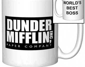 "The Office Dunder Mifflin ""World's Best Boss"" Funny Gift Coffee Mug (Coffee Cup)"