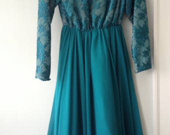 1960s Vintage Miss Elliette Teal (Turquoise) Sequined Fancy Dress