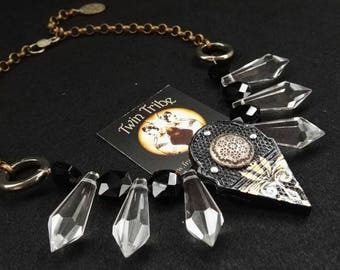 Tribal Fusion necklace with hand-decorated TALHAKIMT, crystal drops, vintage button.