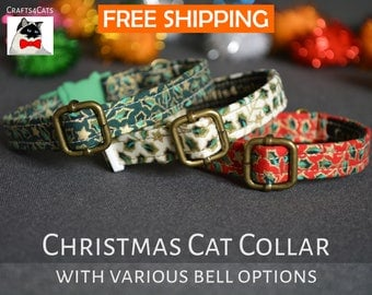 Christmas cat collars - cat collar with jingle bell - breakaway cat collar - luxury cat collar - boy cat collar - girl cat collar -