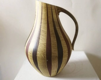 vintage vase, Dümler & Breiden, 276/30, midcentury, jar, german pottery, ceramics, 277/23, XL, interior, homedecor, 50s, flowers, stripes