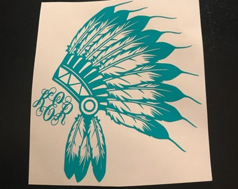 Indian Headdress WITH Monogram Decal | Monogram Decal | Laptop Sticker | Yeti Cup Decal | Car Decal